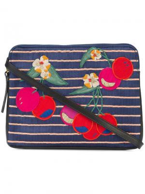 Клатч с нашивками в форме вишен Lizzie Fortunato Jewels. Цвет: чёрный