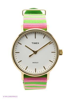 Часы TIMEX. Цвет: розовый, салатовый
