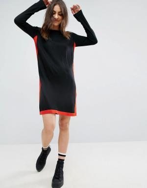 ASOS Платье с отделкой в спортивном стиле. Цвет: черный