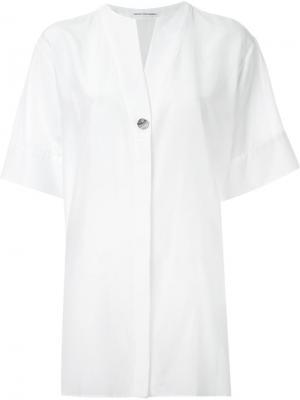 Рубашка свободного кроя с короткими рукавами Akane Utsunomiya. Цвет: белый