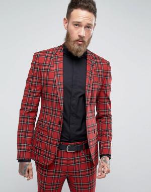ASOS Супероблегающий пиджак в клетку тартан. Цвет: красный