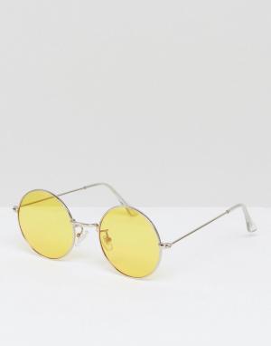 Jeepers Peepers Большие круглые солнцезащитные очки с желтыми стеклами. Цвет: желтый