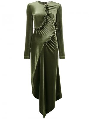 Асимметричное платье с рюшами Preen By Thornton Bregazzi. Цвет: зелёный