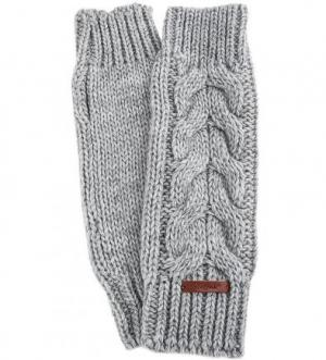 Варежки-митенки с узором косы Noryalli. Цвет: серый