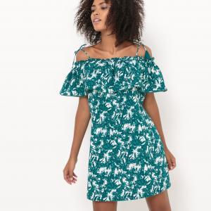 Платье короткое на тонких бретелях, с цветочным рисунком SUNCOO. Цвет: зеленый нефрит