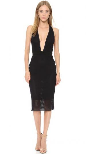 Сетчатое платье Noir с глубоким V-образным вырезом Bec & Bridge. Цвет: голубой