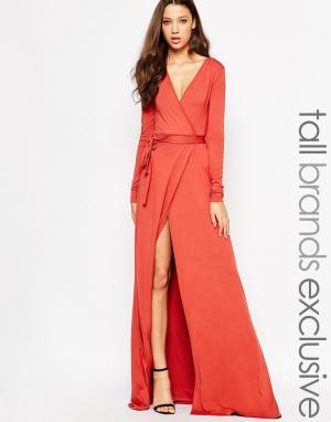 Taller Than Your Average Платье макси с запахом и высоким разрезом TTYA. Цвет: красно-бурый