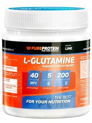 Глютамин  Pure Protein L-Glutamine (яблоко) 200 г. Цвет: белый