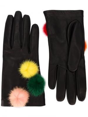 Перчатки с помпонами Fendi. Цвет: чёрный