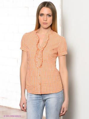 Блузка CONVER. Цвет: оранжевый, белый