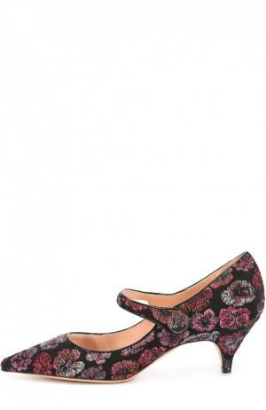 Туфли из текстиля с вышивкой Rochas. Цвет: бордовый