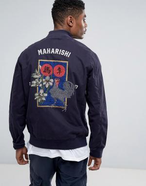 Maharishi Куртка с вышивкой Stadium. Цвет: темно-синий