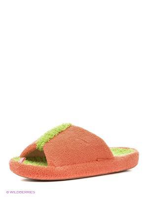 Тапочки женские Dream Feet. Цвет: оранжевый, черный