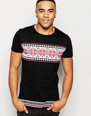 Vacant Рождественская футболка со снежинками. Цвет: черный