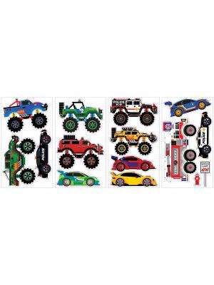 Наклейки для декора Транспорт, 2 ROOMMATES. Цвет: черный, синий, белый, зеленый, серый, голубой, красный, оранжевый, желтый