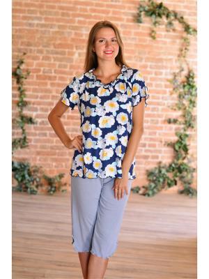 Костюм (футболка,штаны) Весталия. Цвет: темно-синий, серый