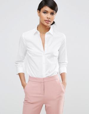 ASOS Рубашка из эластичного хлопка с рукавами длиной 3/4 DESIGN. Цвет: белый