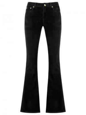 Расклешенные бархатные брюки Amapô. Цвет: чёрный