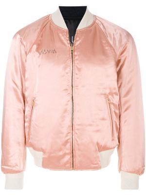 Куртка-бомбер с вышивкой Visvim. Цвет: розовый и фиолетовый