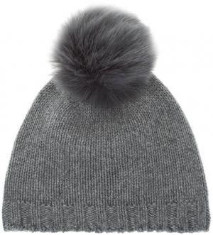 Шерстяная вязаная шапка с помпоном CANADIAN. Цвет: серый