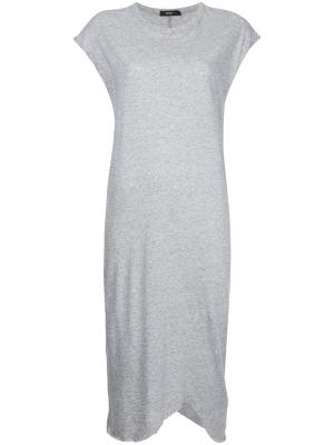 Прямое платье Bassike. Цвет: серый