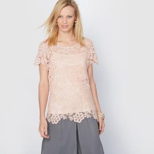 Блузка из гипюра, 100% хлопка ANNE WEYBURN. Цвет: розовая пудра,черный