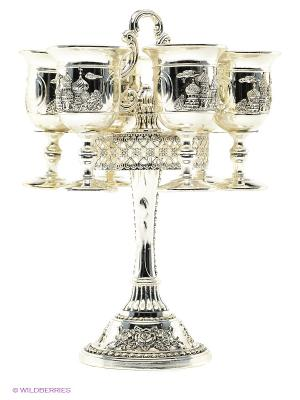 Набор рюмок на подставке, 7 пр.(13х13х20 см) Marquis. Цвет: серебристый