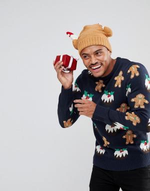 Another Influence Джемпер с рождественским пудингом. Цвет: темно-синий