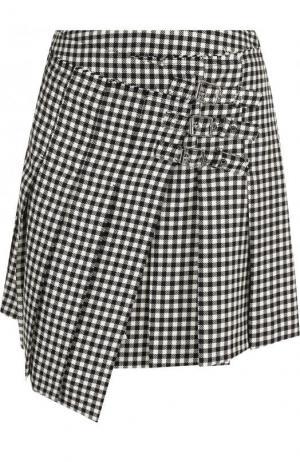 Шерстяная мини-юбка асимметричного кроя в клетку MCQ. Цвет: черно-белый