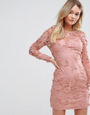 Parisian Платье с цветочной аппликацией. Цвет: розовый