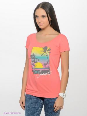 Футболка ROXY. Цвет: коралловый, желтый, розовый