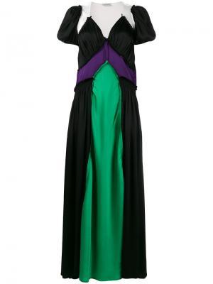 Платье-макси дизайна колор-блок Carlotta Attico. Цвет: многоцветный