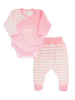 Комплект одежды: ползунки, боди-распашонка Коллекция Little Elephant КОТМАРКОТ. Цвет: розовый