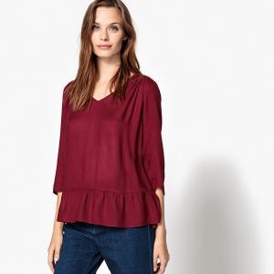 Блузка однотонная с круглым вырезом и рукавами 3/4 SUD EXPRESS. Цвет: бордовый