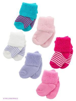 Носки, 6 пар Luvable Friends. Цвет: бирюзовый, сиреневый, малиновый, розовый, белый