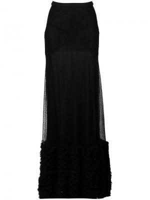 Кружевная юбка макси Amen. Цвет: чёрный