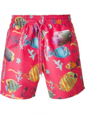 Плавательные шорты с принтом рыб Vilebrequin. Цвет: розовый и фиолетовый