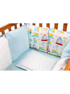 Бампер Машинки 6 подушек DAISY. Цвет: голубой, светло-голубой, светло-желтый