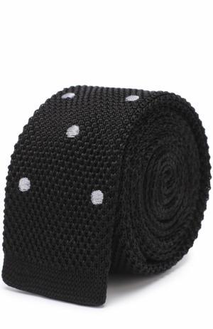 Шелковый вязаный галстук Lanvin. Цвет: черный