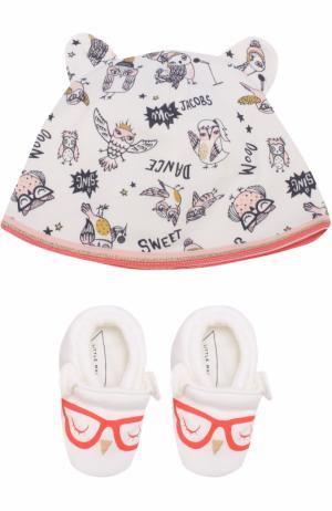 Хлопковый комплект из пинеток и шапки с принтом Marc Jacobs. Цвет: белый