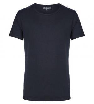 Синяя хлопковая футболка с короткими рукавами Bread&Boxers. Цвет: синий
