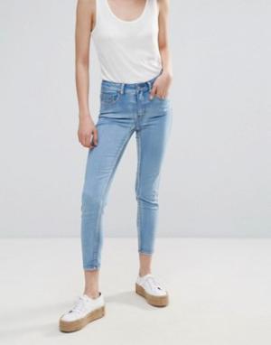 Pieces Укороченные джинсы скинни с классической талией. Цвет: синий