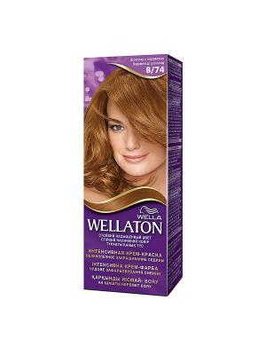 Крем-краска для волос стойкая 8/74 Шоколад с карамелью WELLATON. Цвет: фиолетовый
