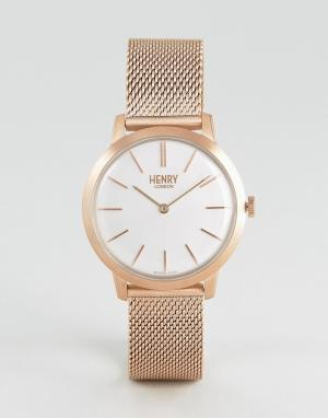 Henry London Золотисто-розовые часы с сетчатым ремешком 34 мм. Цвет: золотой