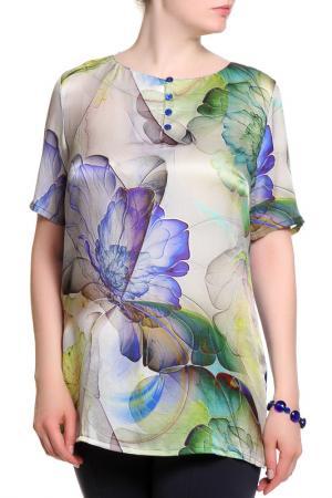 Блуза ROSANNA PELLEGRINI. Цвет: зелено-синий