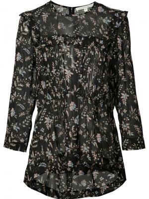 Блузка с цветочным принтом Veronica Beard. Цвет: чёрный
