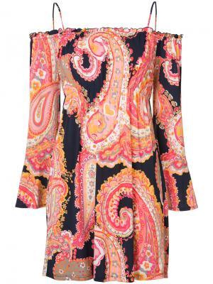 Платье с оборками на рукавах Trina Turk. Цвет: многоцветный