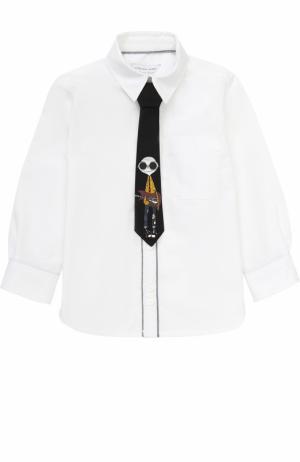 Хлопковая рубашка с галстуком Marc Jacobs. Цвет: белый