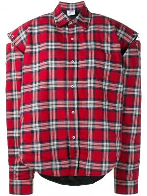 Объемная рубашка в клетку Vetements. Цвет: красный