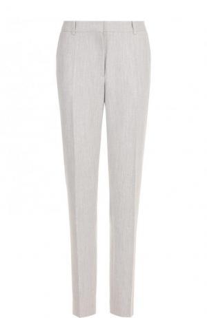 Однотонные брюки прямого кроя со стрелками BOSS. Цвет: серый